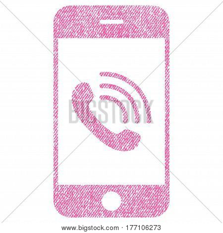 Smartphone Call vector textured icon for overlay watermark stamps. Fabric pink vectorized texture. Symbol with unclean design. Rubber seal stamp with fiber textile structure.