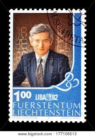 LIECHTENSTEIN - CIRCA 1982 : Cancelled postage stamp printed by Liechtenstein, that shows Prince Hans Adam.