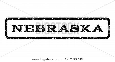 Nebraska watermark stamp. Text tag inside rounded rectangle frame with grunge design style. Rubber seal stamp with dirty texture. Vector black ink imprint on a white background.