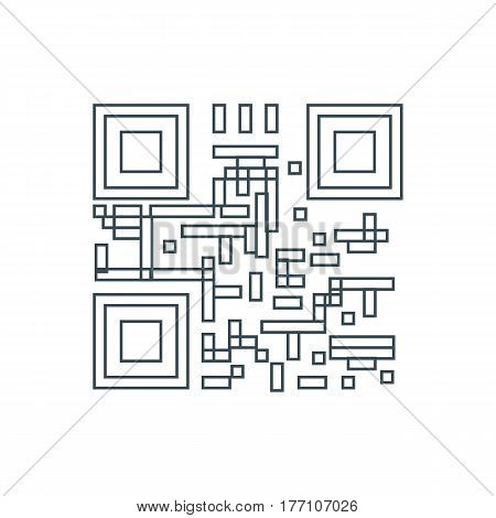 Qr code icon on the white background. Vector illustration