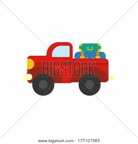 Truck with luggage on the white background. Vector illustration