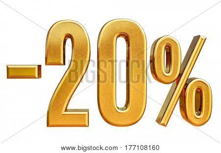 3d render: Gold 20 Percent Off Discount Sign