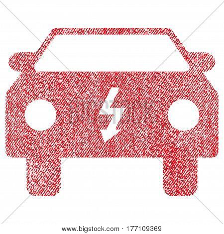 Electric Car vector textured icon for overlay watermark stamps. Fabric red vectorized texture. Symbol with unclean design. Rubber seal stamp with fiber textile structure.