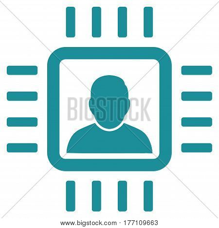 Neuro Processor vector icon. Flat soft blue symbol. Pictogram is isolated on a white background. Designed for web and software interfaces.