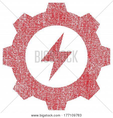 Electric Energy Gear vector textured icon for overlay watermark stamps. Fabric red vectorized texture. Symbol with dirty design. Rubber seal stamp with fiber textile structure.