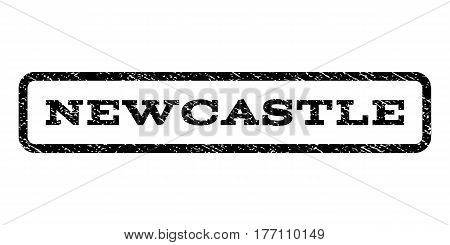 Newcastle watermark stamp. Text tag inside rounded rectangle with grunge design style. Rubber seal stamp with dust texture. Vector black ink imprint on a white background.
