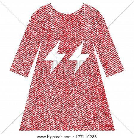 Electric Energy Girl Dress vector textured icon for overlay watermark stamps. Fabric red vectorized texture. Symbol with unclean design. Rubber seal stamp with fiber textile structure.