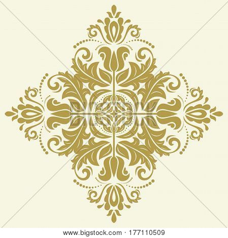 Elegant vector square golden ornament in classic style. Abstract traditional pattern with oriental elements. Classic vintage pattern