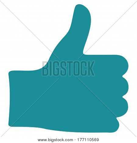 Thumb Up vector icon. Flat soft blue symbol. Pictogram is isolated on a white background. Designed for web and software interfaces.