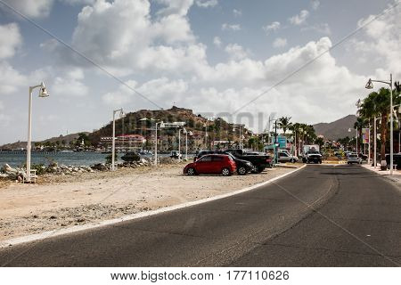 MARIGOT, ST.MARTIN - JULY 31:  Road to  Fish market area with  Fort Louis on hill  in Marigot in July 31, 2015 in St.Maarten, Caribbean Island.