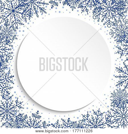 Nice vector card for holiday with arabesques and snowflakes. Fine greeting card. Pattern with snowflakes