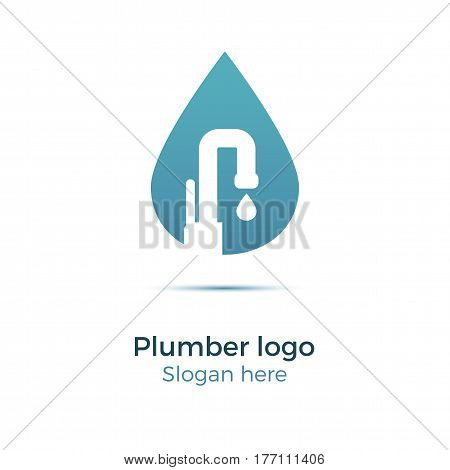 Plumbing company logo vector concept. Illustration for plumber's business. Simple and stylish logotype - water drop with faucet. Negative space design.
