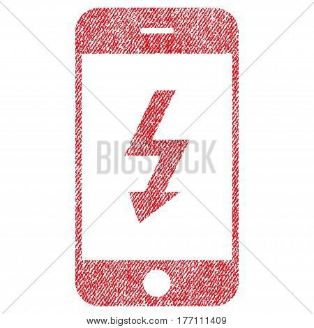 Electric Smartphone vector textured icon for overlay watermark stamps. Fabric red vectorized texture. Symbol with dust design. Rubber seal stamp with fiber textile structure.