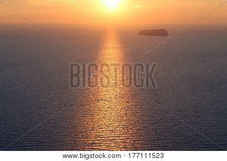 Romantic sea sunset view from Santorini island