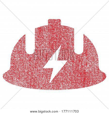 Electrician Helmet vector textured icon for overlay watermark stamps. Fabric red vectorized texture. Symbol with dirty design. Rubber seal stamp with fiber textile structure.