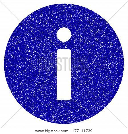 Grunge Info rubber seal stamp watermark. Icon symbol with grunge design and unclean texture. Unclean vector blue sticker.