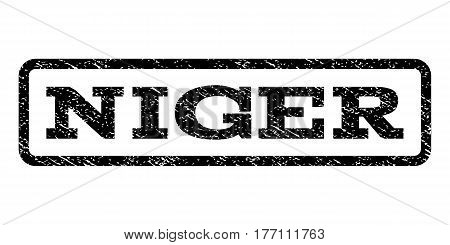 Niger watermark stamp. Text caption inside rounded rectangle with grunge design style. Rubber seal stamp with dirty texture. Vector black ink imprint on a white background.
