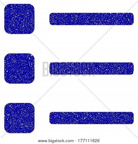 Grunge Items rubber seal stamp watermark. Icon symbol with grunge design and dust texture. Unclean vector blue sign.