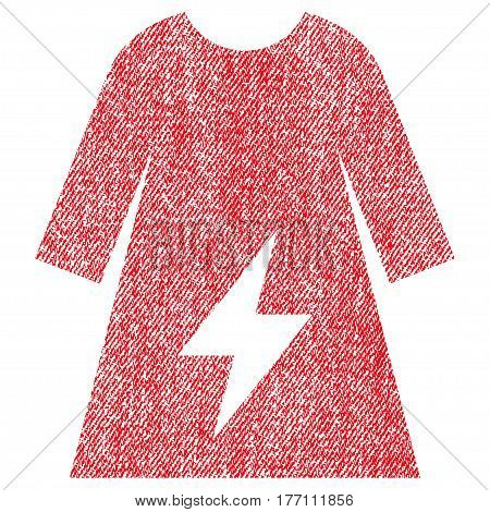 Electricity Female Dress vector textured icon for overlay watermark stamps. Fabric red vectorized texture. Symbol with unclean design. Rubber seal stamp with fiber textile structure.