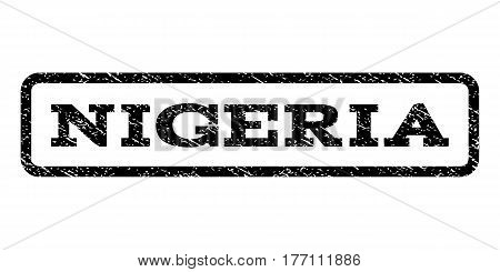 Nigeria watermark stamp. Text caption inside rounded rectangle frame with grunge design style. Rubber seal stamp with unclean texture. Vector black ink imprint on a white background.