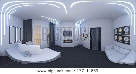3d illustration of interior design of a home office in a space style. Render executed, 360 degree spherical seamless panorama for virtual reality