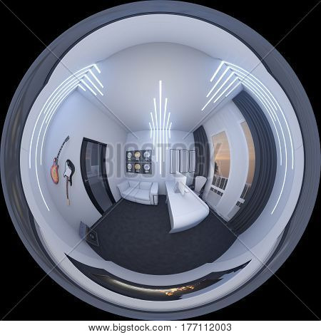 3d illustration of interior design of a home office in a space style. Render executed, 360 degree spherical seamless panorama for virtual reality. The musician's office.