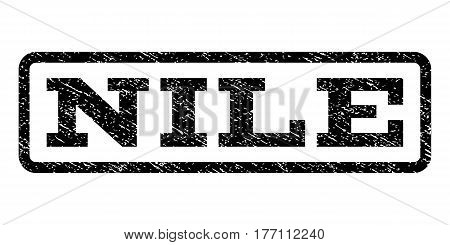 Nile watermark stamp. Text tag inside rounded rectangle frame with grunge design style. Rubber seal stamp with dirty texture. Vector black ink imprint on a white background.