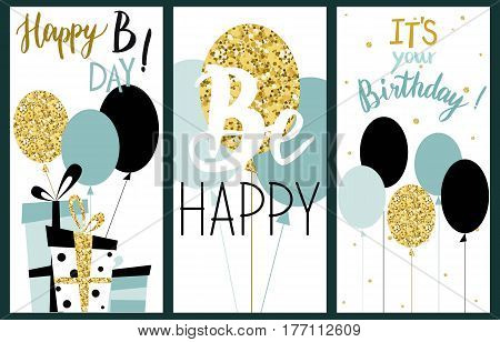 Happy Birthday Party cards set with balloons presents and lettering text. Mint color. Vector hand drawn illustration.