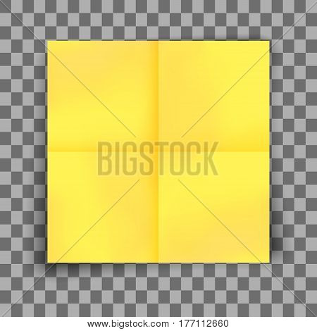 Yellow sticky note with shadow on transparent background. Blank sticker paper note for memo and notice. Vector illustration.