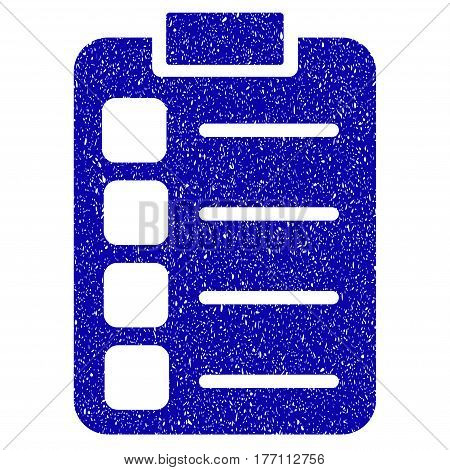 Grunge Tasks rubber seal stamp watermark. Icon symbol with grunge design and scratched texture. Unclean vector blue emblem.