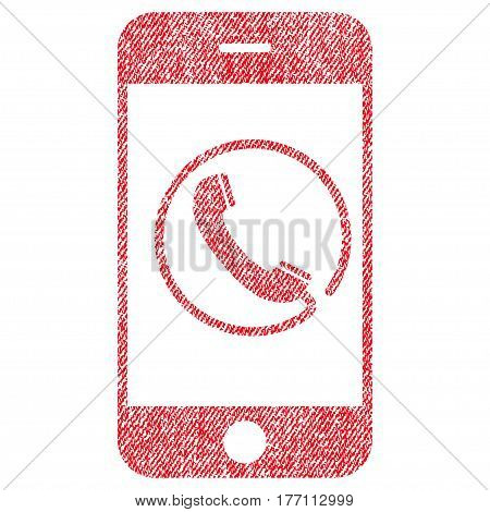 Phone vector textured icon for overlay watermark stamps. Fabric red vectorized texture. Symbol with scratched design. Rubber seal stamp with fiber textile structure.