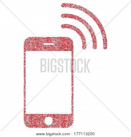 Smartphone Call vector textured icon for overlay watermark stamps. Fabric red vectorized texture. Symbol with dust design. Rubber seal stamp with fiber textile structure.