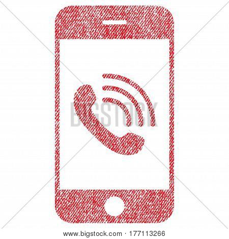 Smartphone Call vector textured icon for overlay watermark stamps. Fabric red vectorized texture. Symbol with scratched design. Rubber seal stamp with fiber textile structure.