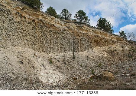 Field pebble agglomerates on the banks of the Dniester river near the urban-type settlement of Stara Ushytsya in Kamenetz-Podolsk district of Khmelnitsky region of Ukraine. March 2007