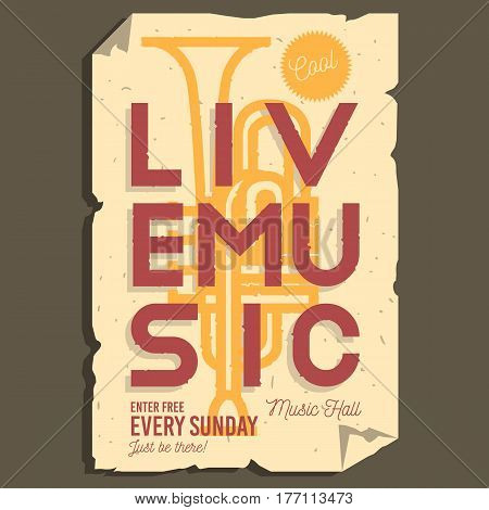 Live Music Typographic Promotion Information Poster Layout Design With Trumpet Background Illustration And Ragged Paper Effect. Vector Graphic.