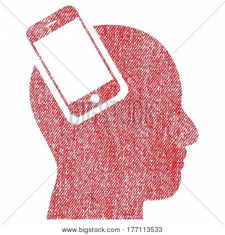 Smartphone Head Integration vector textured icon for overlay watermark stamps. Fabric red vectorized texture. Symbol with dirty design. Rubber seal stamp with fiber textile structure.