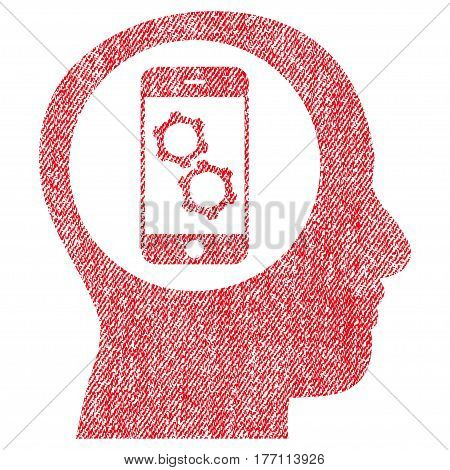 Smartphone Mind Control vector textured icon for overlay watermark stamps. Fabric red vectorized texture. Symbol with dust design. Rubber seal stamp with fiber textile structure.