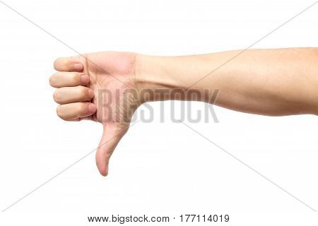 Thumb Down Male Hand Sign Isolated