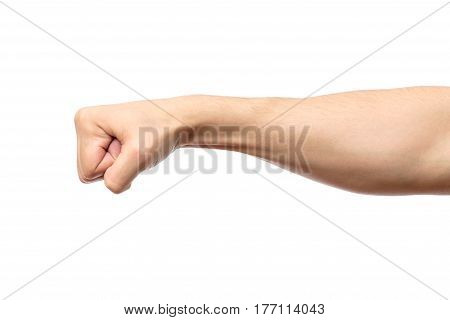 Male Clenched Fist Isolated On White