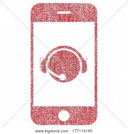 Smartphone Operator Contact Head vector textured icon for overlay watermark stamps. Fabric red vectorized texture. Symbol with dirty design. Rubber seal stamp with fiber textile structure.