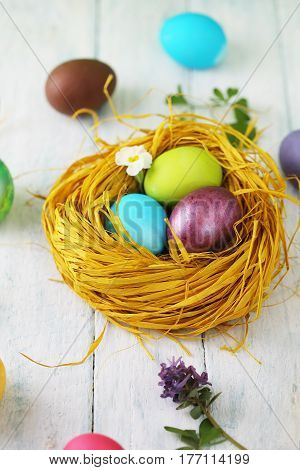 yellow nest with painted eggs, Easter background.