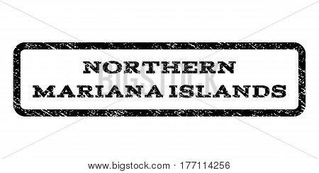 Northern Mariana Islands watermark stamp. Text caption inside rounded rectangle frame with grunge design style. Rubber seal stamp with dust texture. Vector black ink imprint on a white background.