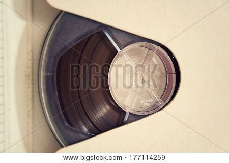 Vintage Reel-to-reel Audio Recorder Tape Isolated On White Background