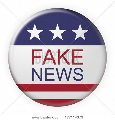 USA Media Concept Badge: Fake News Button With US Flag 3d illustration on white background