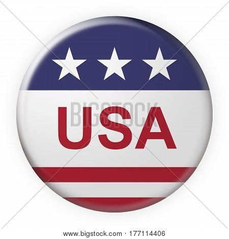 Patriotic Badge: USA Button With US Flag 3d illustration on white background