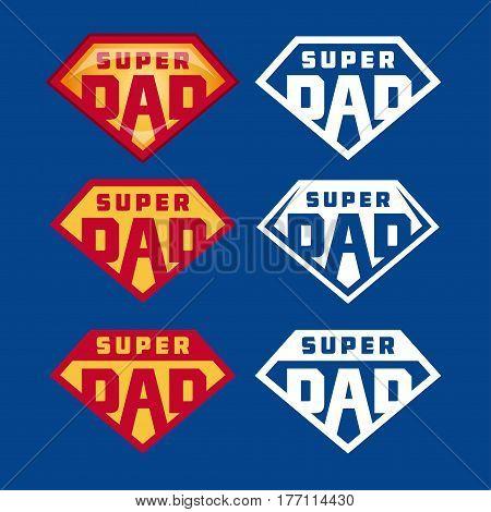 Super dad emblems labels prints set. Hand crafted typography t-shirt design. Vector vintage illustration.