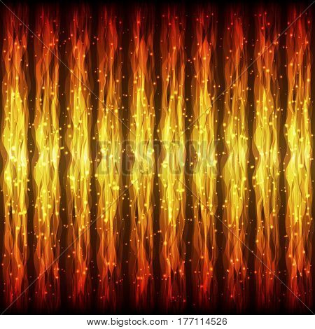 Bright Hot Seamless Pattern of Fiery Wave Lines for App Program Website. Fire Effect. Continuous Burning Background with Effect of Flying Twinkle Particles.