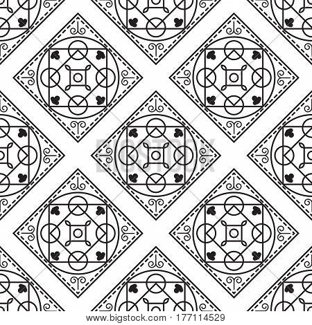 Portuguese black and white mediterranean seamless tile pattern. Geometric monochrome shapes vector texture for ceramic design, textile and wallpaper.