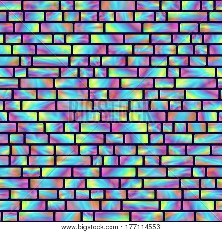 Seamless Pattern of Colored Holographic Rectangles. Creative Geometric Background Continued Design.