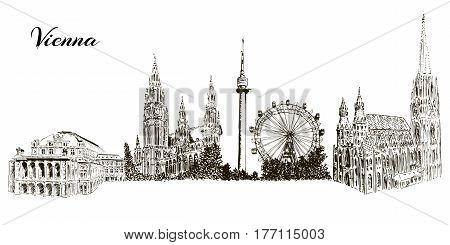 Set of Vienna symbols. Donauturm, Stephansdom, Rathaus, Prater, Vienna State Opera House. Wiener Staatsoper. Hand drawn sketch vector set. city skyline, outline. For prints, textile, wrapping web